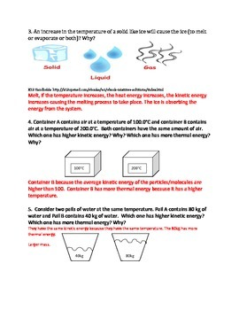 Thermal Energy Analysis Questions