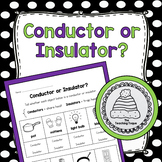 Thermal Energy Conductor or Insulator Worksheet/Activity