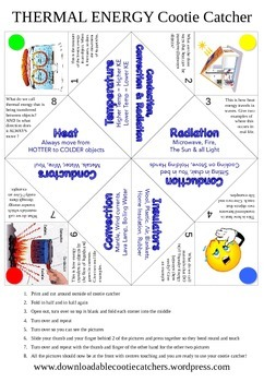 Thermal Energy Cootie Catcher Creation Activity