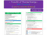 Thermal Energy (Heat) Transfer; Conduction/Convection/Radiation) Teacher Notes