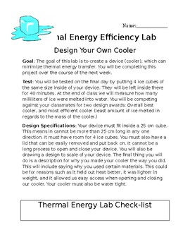 Thermal Energy Lab (Design your own cooler)