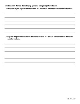 Thermal Energy Mini-Assessment for Essential Standards Note Taking Booklet