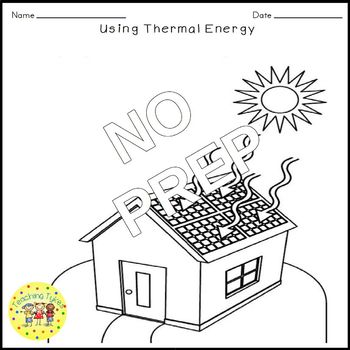 Thermal Energy Science Crossword Puzzle Coloring Worksheet Middle School