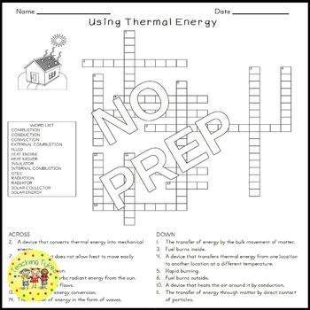 Thermal Energy Crossword Puzzle