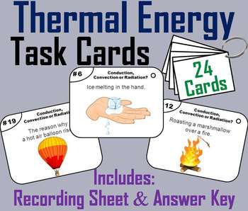 Thermal Energy Task Cards: Conduction, Convection and Radiation