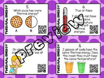 Thermal Energy Task Cards - with or without QR codes