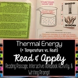Thermal Energy Reading Comprehension Interactive Notebook