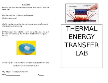 Thermal Energy Transfer Lab (Conduction , Convection, Radiation)