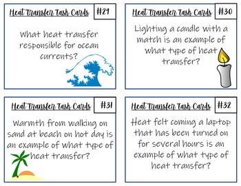 Thermal Energy Transfer Task Cards- 32 Cards with Answer Key