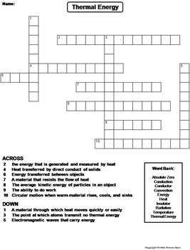 Thermal Energy Worksheet/ Crossword Puzzle