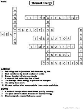 Thermal Energy Worksheet/ Crossword Puzzle