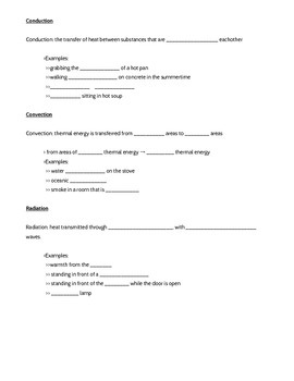 Thermal Energy and Heat Transfer Notes