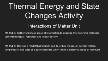 Thermal Energy and State Changes Activity, Interactions of Matter Unit