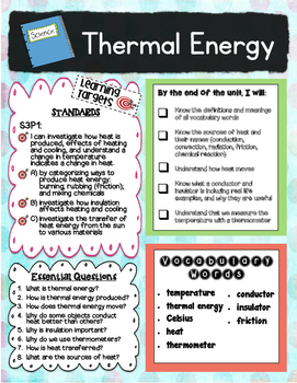 Thermal (Heat) Energy 3rd Grade GA Unit Road Map (Preview)