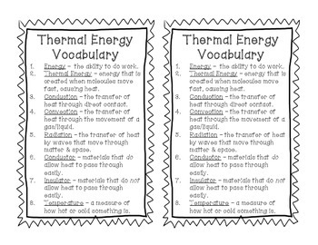 Thermal (Heat) Energy Vocabulary Matching Game