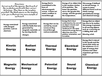 Thermal,Electrical,Potential,Kinetic,Magnetic,Mechanical,Radiant,& Sound Energy