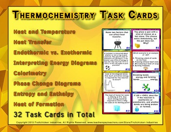 Thermochemistry 32 TASK CARDS with Answer KEY and Student Sheet