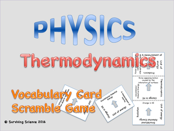 Thermodynamics Vocabulary Scramble Game: Physics
