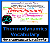 Thermodynamics Vocabulary for Interactive Notebooks