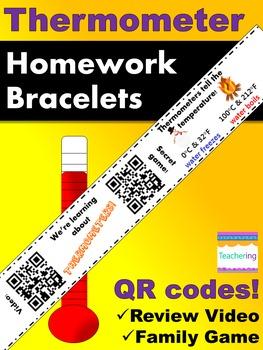 Thermometer Homework Bracelets with QR Codes {Kindergarten}