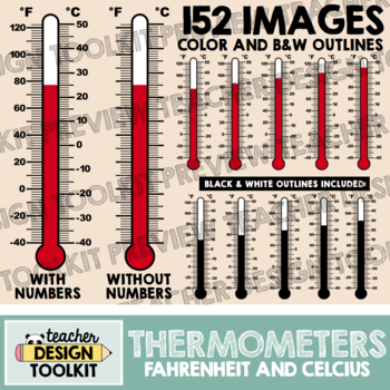 Thermometers Clip Art: Fahrenheit and Celsius