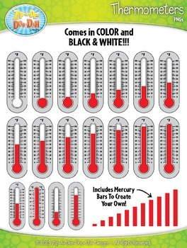 Thermometers Clipart Set (Celsius / Fahrenheit / Blank) —