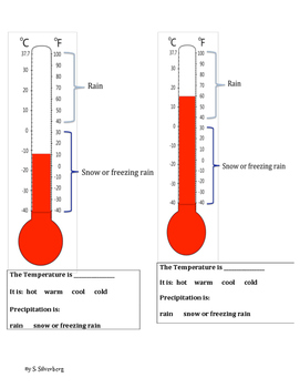 Thermometers, Temperature, and Precipitation Worksheets