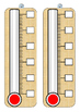 Thermometers with different scales for display