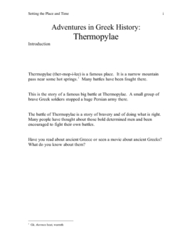 Thermopylae story with exercises