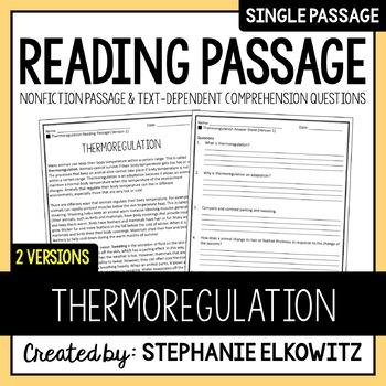 Thermoregulation Reading Passage