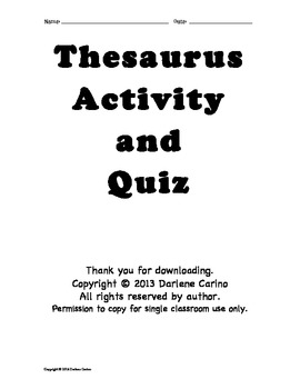 Thesaurus Activity and Quiz