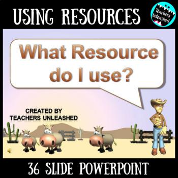 Resources PowerPoint Lesson {Thesaurus, Atlas, Almanac, Encyclopedia}
