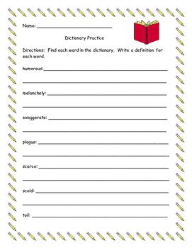Thesaurus/Dictionary Practice