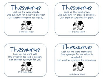 Thesaurus Task Cards