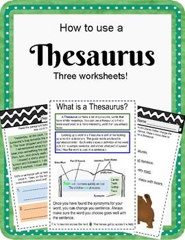 Thesaurus Worksheets | Teachers Pay Teachers