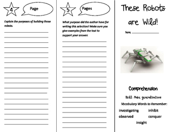 These Robots are Wild Trifold - California Treasures 5th Grade Unit 5 Week 3