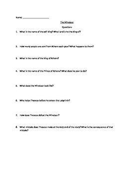 Theseus and the Minotaur Comprehension Questions