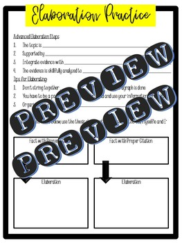Citing Evidence and Elaboration Practice - Informational Text and Reading Guide