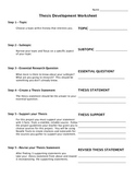 Thesis Construction Worksheet