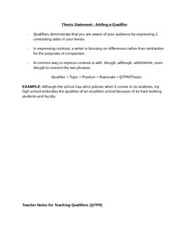 Thesis Statement - Adding Complexity with a Qualifier