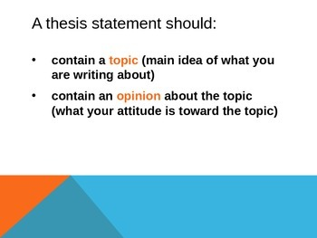 Thesis Statement Lesson
