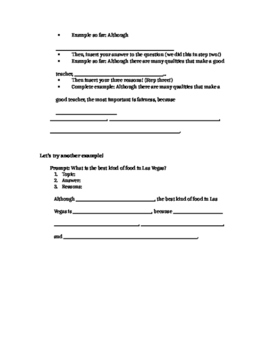 Thesis Statement Lesson Guided Notes