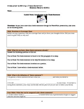 Thesis Statement Lesson, Guided Notes, and Differentiated Independent Practice