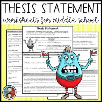 thesis statement minilesson  argumentative essay by middle school  thesis statement minilesson  argumentative essay