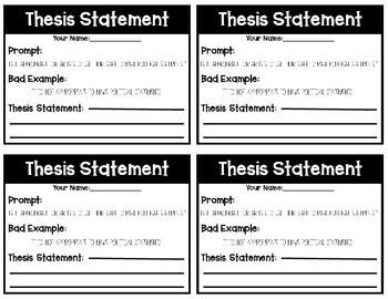 Thesis Statement Practice - Prompts - Mini Quiz- Exit Ticket
