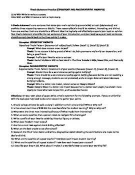 Thesis Statement Practice for Expository and Argumentative