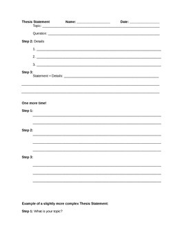 Thesis Statement Scaffolded Worksheet