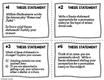 Thesis Statement Practice Task Cards {Set of 32}