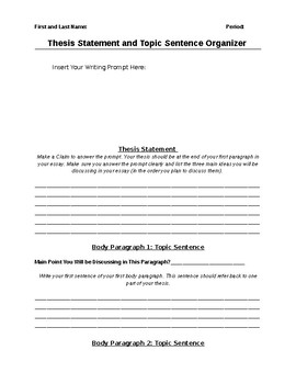 Thesis Statement/Topic Sentence Organizer (Editable)