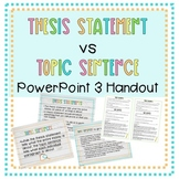 Thesis Statement Vs Topic Sentence PowerPoint with Handout (Grades 5-8)